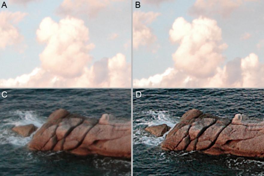 Primi difetti corretti sullo scatto. Le alte luci delle nuvole (A= prima, B=dopo la correzione con Luce=-2 in DPP) e la nitidezza non eccezionale (C=prima, D= dopo la correzione in Photoshop, con Maschera di contrasto 200-3-0).