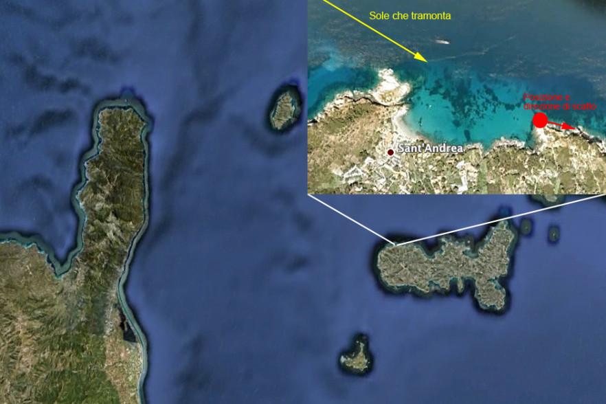 Mappa tratta da Google Maps e Google Earth. Nel riquadro potete vedere dove si posizione Sant'Andrea nell'Isola d'Elba. Sono anche riportate le indicazioni di dove ho eseguito lo scatto (cerchio rosso), in che direzione (freccia rossa) e da dove proveniva la luce solare (freccia gialla).