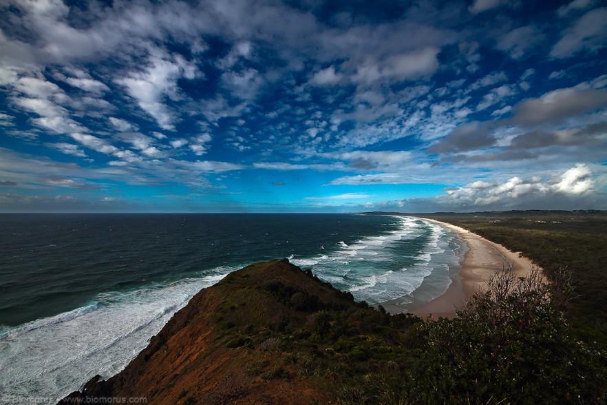 Tallow beach da Cape Byron (Byron Bay, NSW, Australia) – (Dati di scatto: Canon EOS 7D, Sigma 8-16 f/4.5/5.6 DC HSM, 1/250 sec, f/11, ISO 100, mano libera)