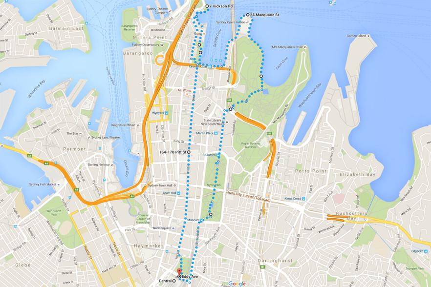 Mappa del percorso di circa 2 ore, con partenza e arrivo a Central Station.